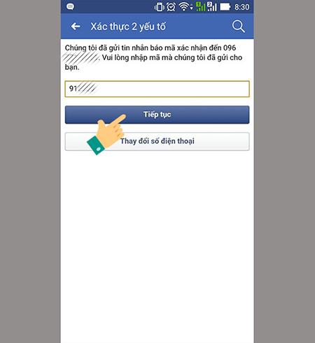 Nhập mã Facebook đã gửi qua số điện thoại