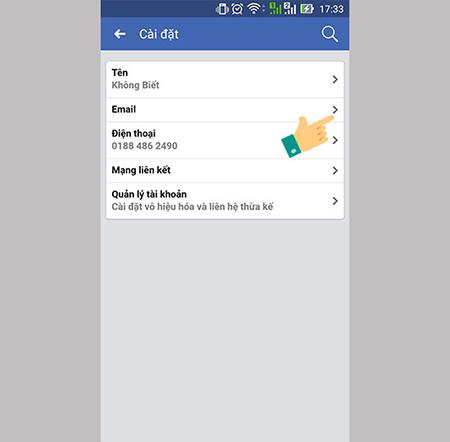 Thêm email liên hệ vào số điện thoại- bước 2- chọn email