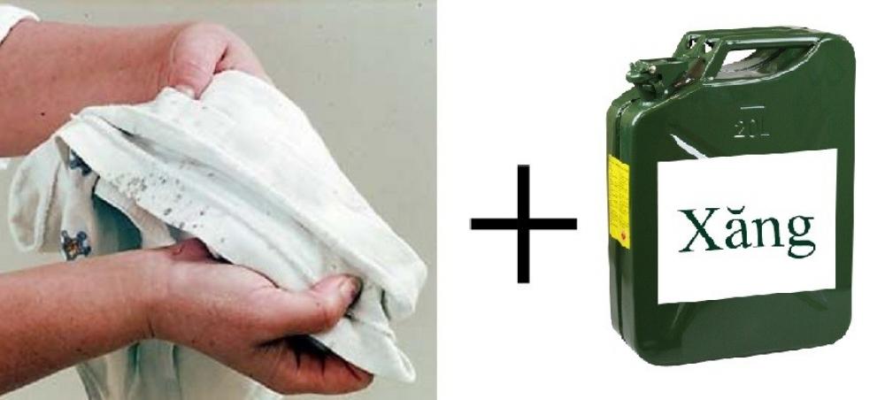 Dùng xăng để tẩy sạch vết mốc