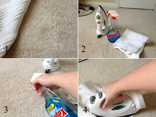 Giặt thảm tại nhà bằng bàn là và nước lau kính